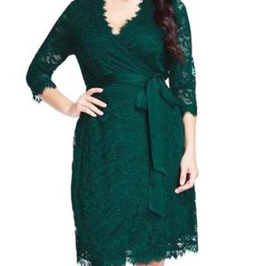 NWT green lace wrap dress with satin belt